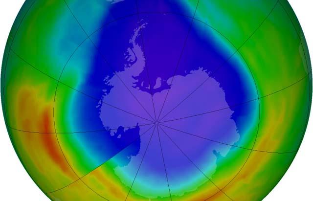 The ozone hole over Antarctica